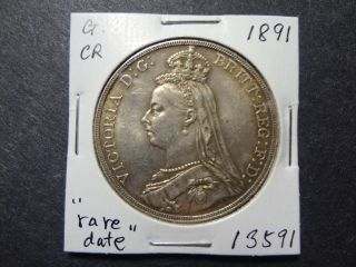 Great Britain 1891 Key Date 1 Crown,  Choice Unc Very Rare This Freshly Minted photo