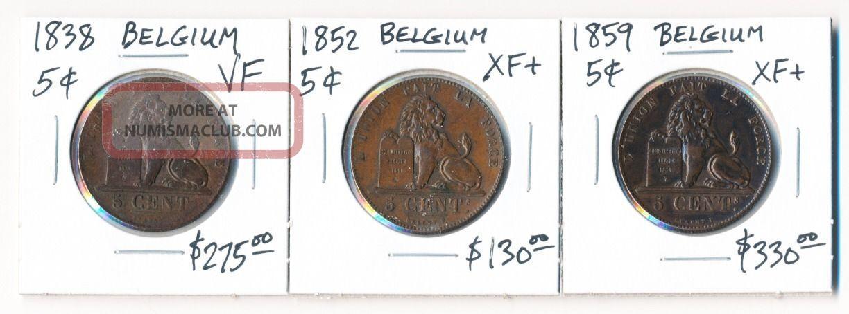 1838 1852 & 1859 Belgium 5 Centimes (trio $$$) Europe photo