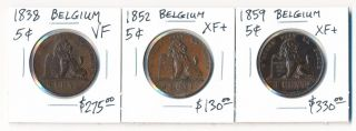 1838 1852 & 1859 Belgium 5 Centimes (trio $$$) photo