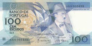 Portugal 100 Escudos 12.  2.  1987 Banknote Unc (pick 179b) photo