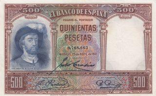 Spain 500 Pesetas 25.  4.  1931 Banknote (pick 84) photo