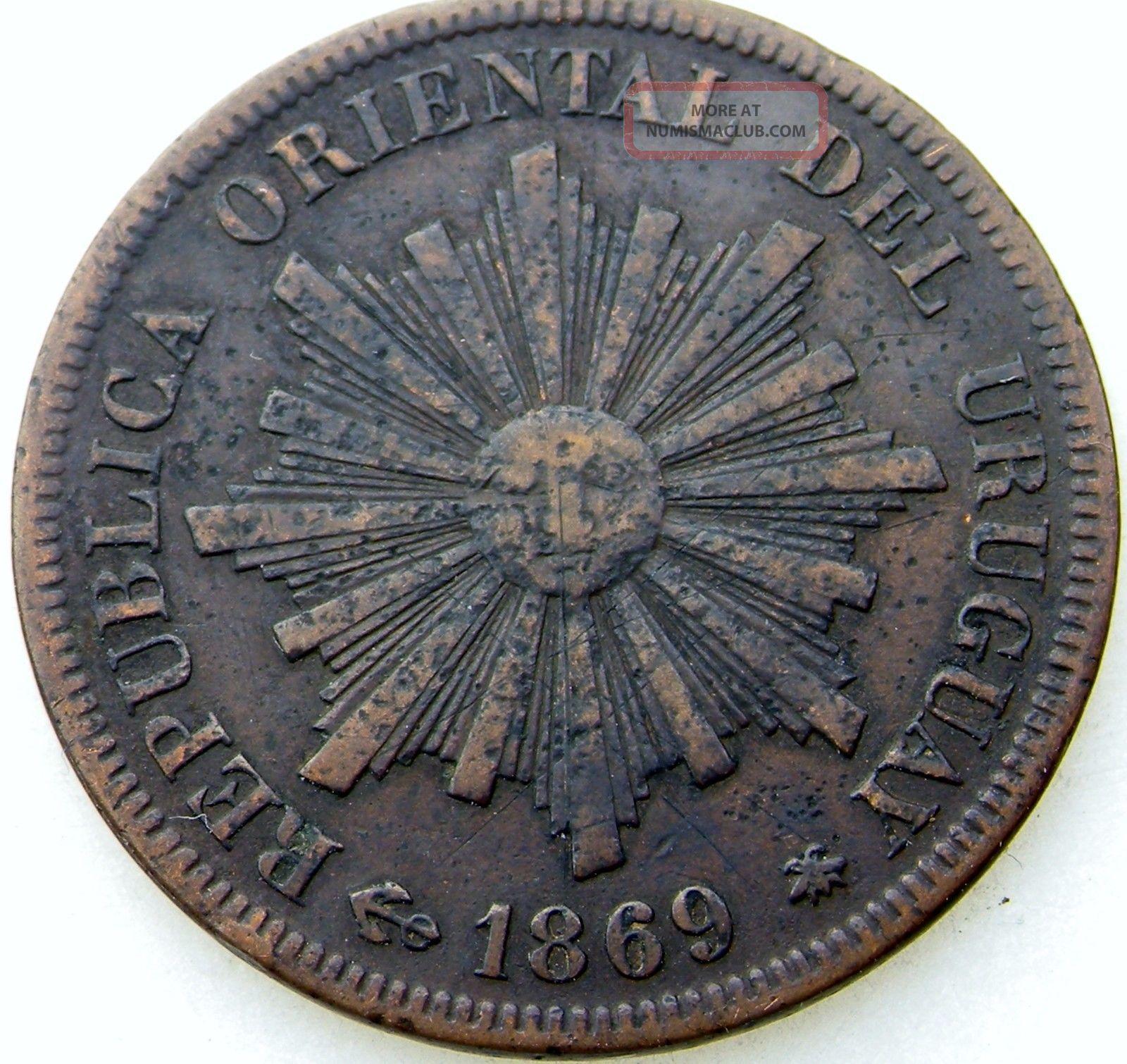 Rare 1869 Moneda 1 Centimo Republica Oriental Del Uruguay Coin South America photo