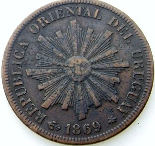 Rare 1869 Moneda 1 Centimo Republica Oriental Del Uruguay Coin photo