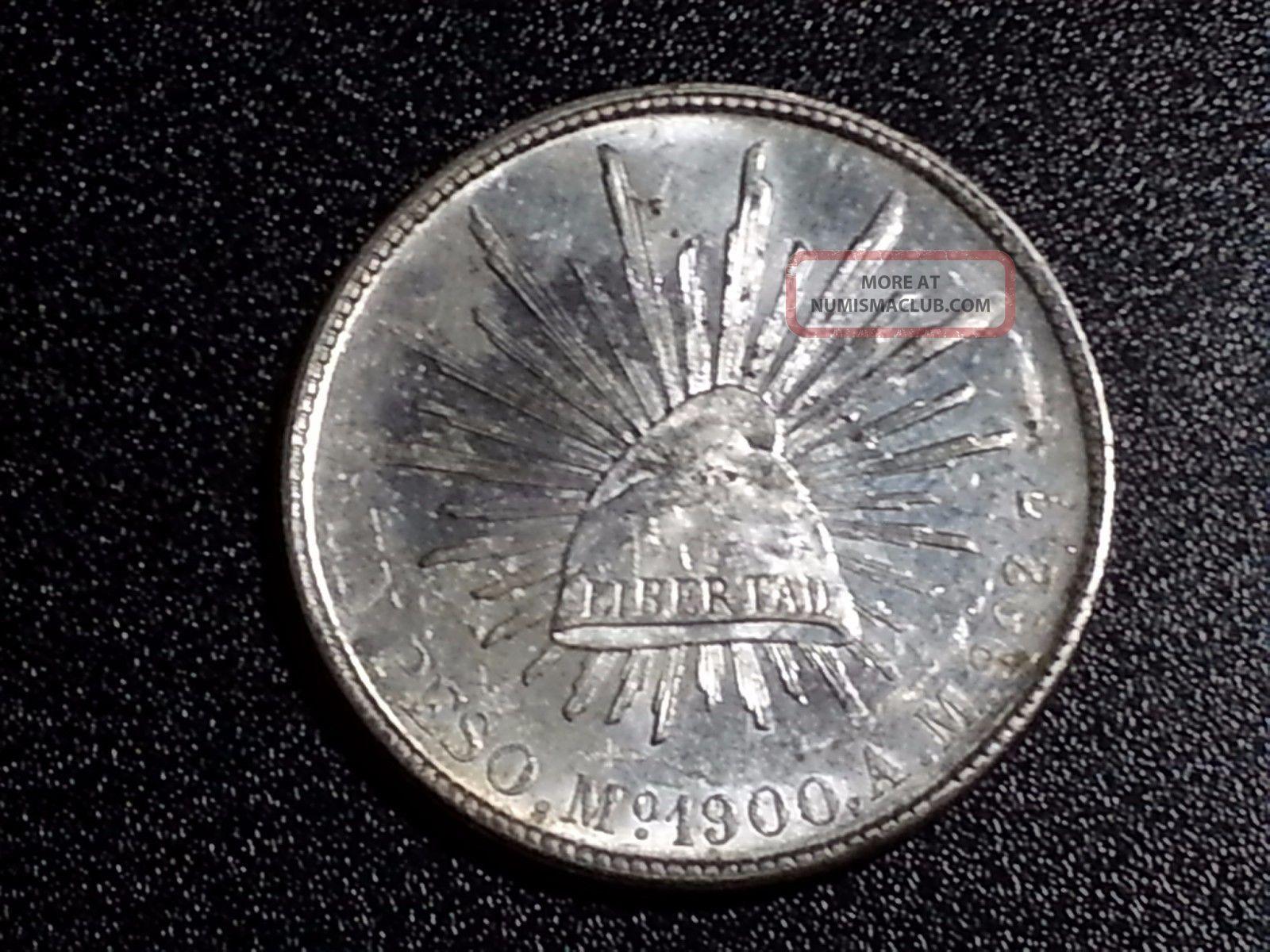 1900 Mo Mexico Peso Silver Coin