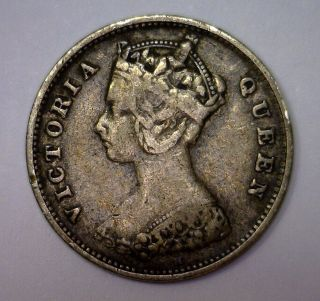 1900 Silver Ten Cent 10c Hong Kong British Victoria Km 6.  3 Fine photo