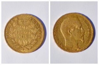 France 1857 Napoleon 20 Franc Rare Gold Coin Xf A photo