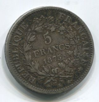 1875 French Silver Five Franc Coin Fine photo