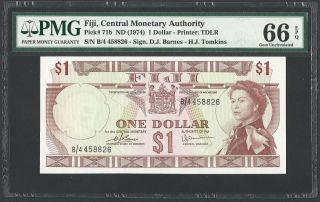 1974 Fiji $1 Dollar Pmg66 Epq Gem Crisp Unc Pick 71b Qeii Large Note photo