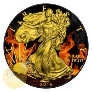 2016 Burning Eagle Us 1$ Silver Eagle 1oz Silver Coin 24kt Gold & Ruthenium photo