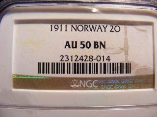 Norway 2 Ore,  1911 - Key Date In Series - Au50 - Brown photo