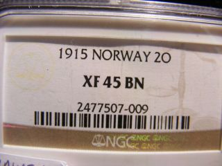 Norway 2 Ore,  1915,  Xf - 45 Brown photo