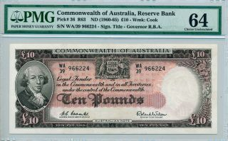Reserve Bank Commonwealth Of Australia 10 Pounds Nd (1960) Rare Pmg 64 photo