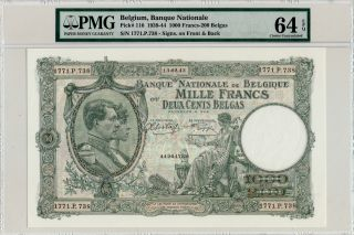 Banque Nationale Belgium 1000 Francs 1939 Large Note Pmg 64epq photo
