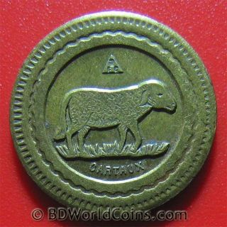 20 Centimes French Jeton Token Food Drink Sheep Consommer Cartaux Paris France photo
