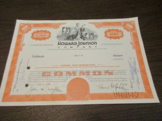 Vintage - Canceled - Howard Johnson Company Stock Certificate 1960 ' S - 1970 ' S photo