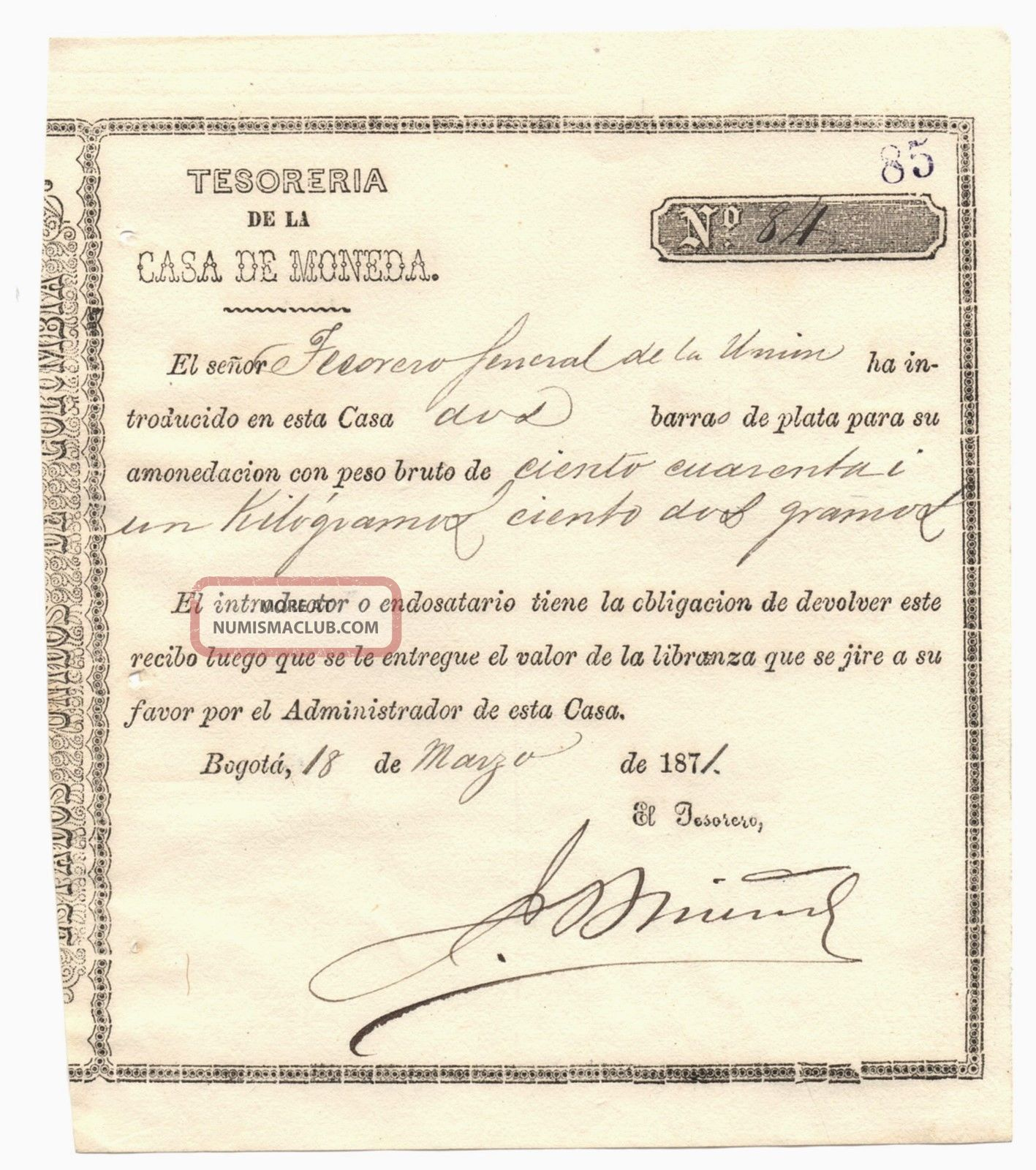 Colombia,  Casa De Moneda De Bogota,  Title Of Silver Receipt,  Issue 1871 World photo