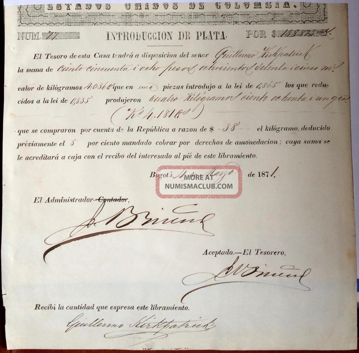Colombia,  Casa De Moneda De Bogota,  Title (warrant) Of Silver Introduction,  1871 World photo