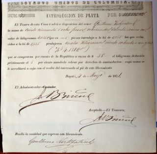 Colombia,  Casa De Moneda De Bogota,  Title (warrant) Of Silver Introduction,  1871 photo