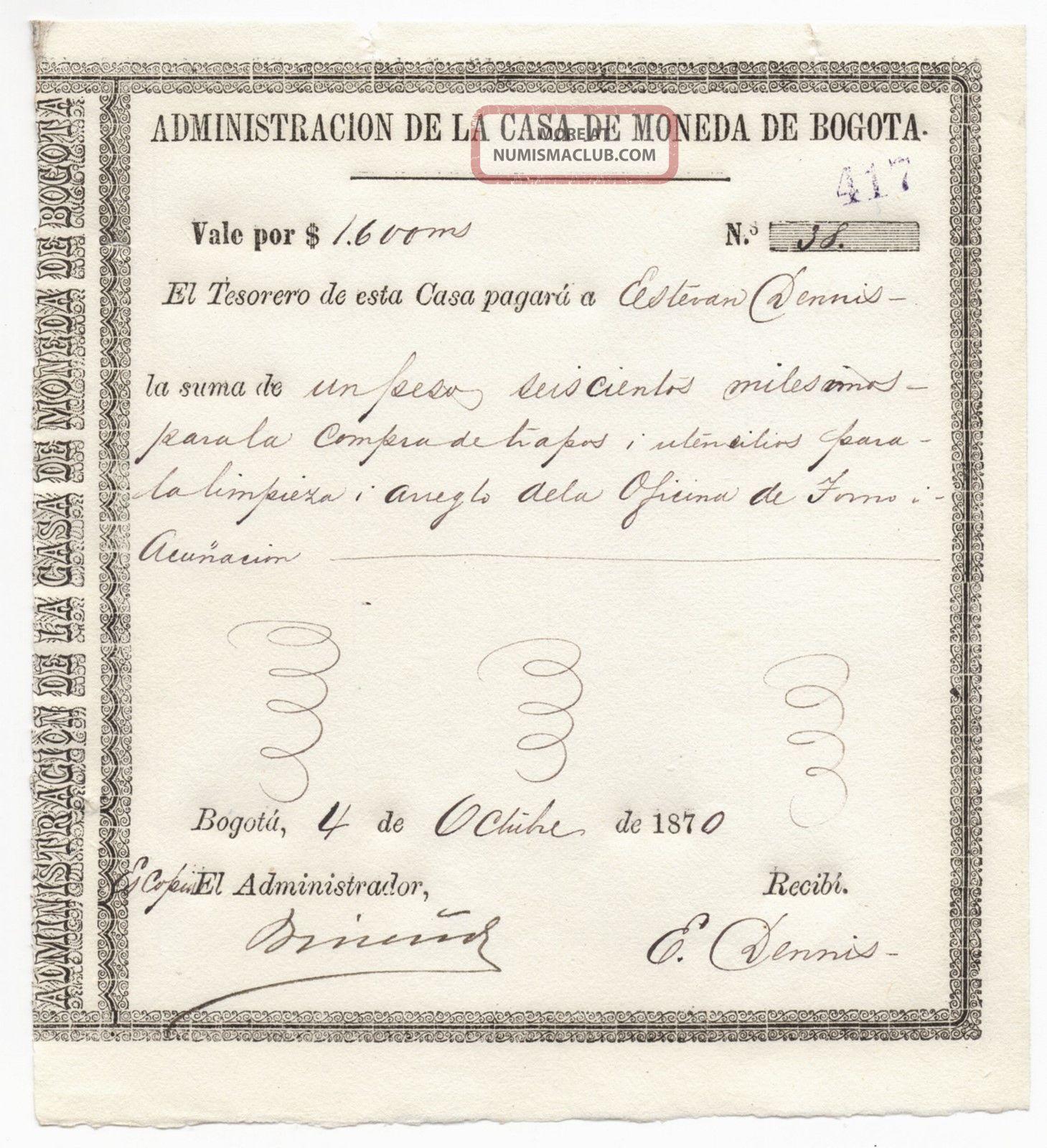 Colombia,  Casa De Moneda De Bogota,  Vale Issue 1870 World photo