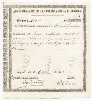 Colombia,  Casa De Moneda De Bogota,  Vale Issue 1870 photo
