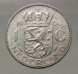 1956 Netherlands Kingdom Queen Juliana 1 Gulden Authentic Silver Coin I57760 photo