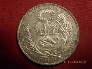 1931 Peru Un Sol - Silver (. 4019 Asw) - Mintage Only 24,  000 - 37mm photo
