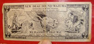 1936 Deal Sound Mazuma Anti Fdr Political Scrip photo