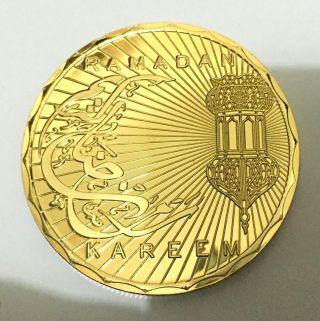 1 Oz Muslims Ramandan Islamic Calendar Finished In 24k Gold Coin Rare photo