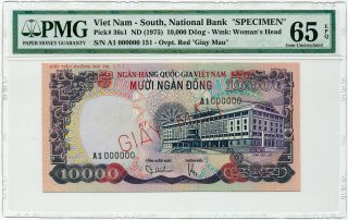 Vietnam South - 10000 Dong 1975 Specimen A1 0000000 Pmg Gem Unc 65 Epq photo