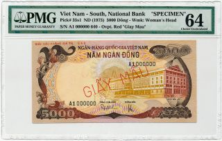 Vietnam South - 5000 Dong 1975 Specimen A1 0000000 Pmg Choice Unc 64 photo