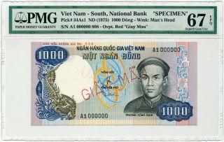 Vietnam South - 1000 Dong 1975 Specimen A1 0000000 Pmg Gem Unc 67 Epq photo
