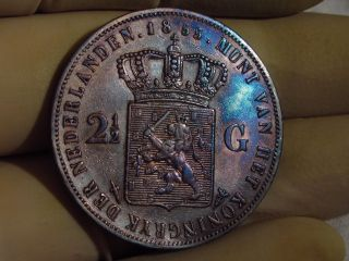 Netherlands 1855 Dutch 2 1/2 Silver Gulden Dollar Coin Rainbow Toned photo
