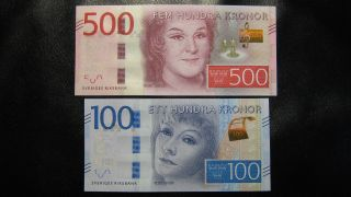 Sweden 100 And 500 Kronor 2016 Unc photo