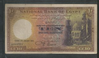 Egypt National Bank Of Egypt 10 Pounds 4th Issue 1945,  Prefix X/89,  Nixon I photo