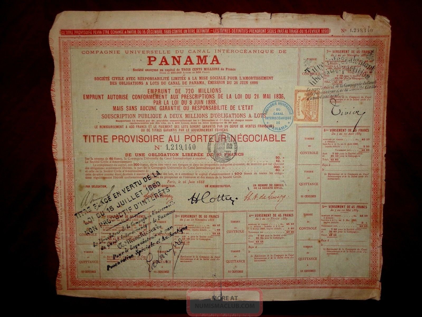 Panama Canal Bearer Bond Certificate Paris 1888 Fair /g World photo