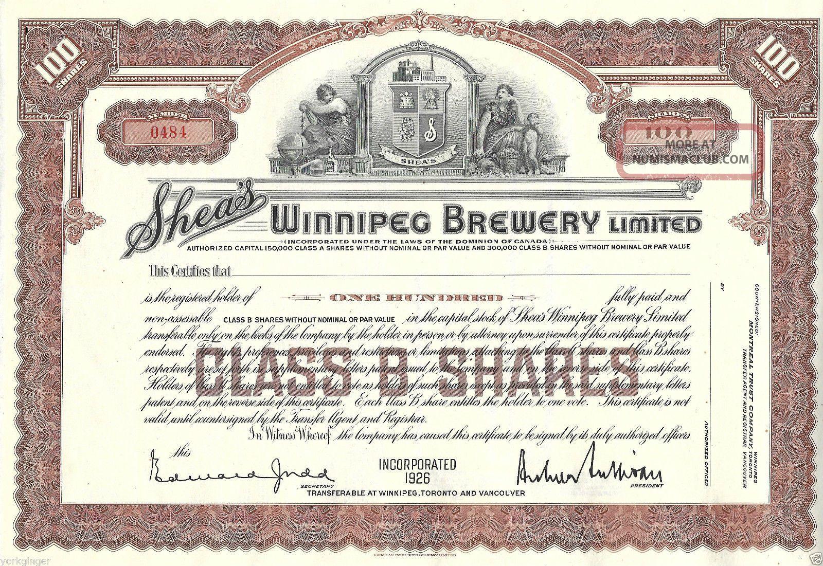Shea ' S Winnipeg Brewery Ltd.  Canada,  100 Glass B Shares 1926 Stock Certificate Stocks & Bonds, Scripophily photo