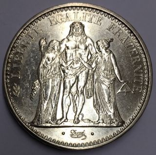 Republic Of France 1965 10 Francs Hercules Group Silver Coin photo