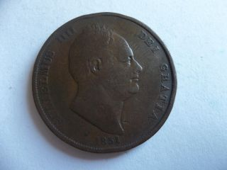 United Kingdom 1 Penny 1831 William Iv Km 707 Rare photo
