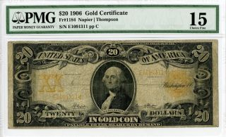 1906 Fr.  1184 $20 United States Gold Certificate Note - Pmg Choice Fine 15 photo