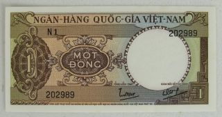 South Vietnam Nd 1964,  1966 1 Dong,  P15,  Uncirculated Note photo