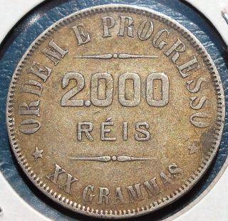 . 900 Silver 1907 Brazil 2000 Liberty Head Grade Toned Circ 32mm Rsb 10 photo