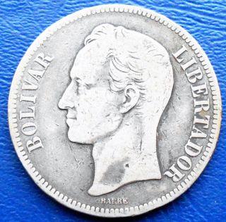 . 900 Silver 1902 - P Venezuela 5 Bolivares Simon Mintage 500k Toned 724 photo