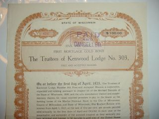 Trustees Of Kenwood Lodge No.  303 Masons Bond Stock Certificate Wisconsin photo