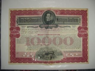 George M.  Cohan Lake Shore & Michigan Southern Railway Bond Stock Certificate photo