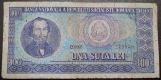 Socialist Romania Third Leu - 100 Lei - 1966 - Nicolae Balcescu - photo