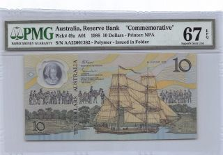 Australia $10 26.  1.  1988 P 49a Series A01 Pmg 67 Epq Gem Uncirculated Banknote photo