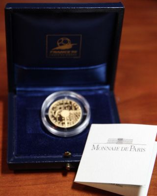 1996 France 50 Franc Gold Coin World Cup Soccer 1/4 Oz Pure Proof Box Ac 2 photo