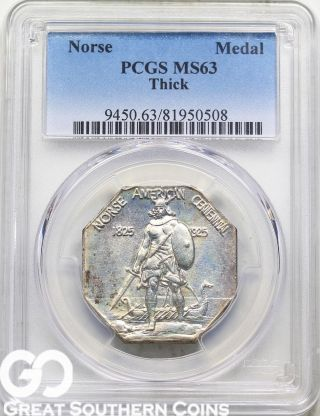 1925 Norse Commemorative Medal,  Thick,  Pcgs Ms Ms 63 Always In High Demand photo