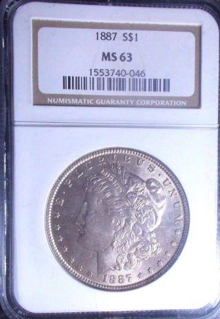 1887 - Ngc - Ms63 - Morgan Silver Dollar - Tremendous Eye Appeal - No Surface Marks - Vam - 14 photo