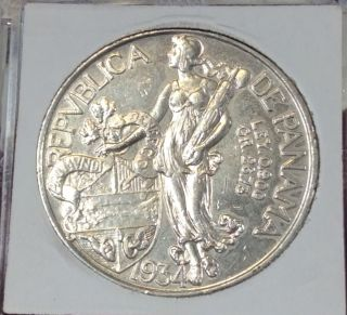One Gorgeous 1934 Republic Of Panama Vn Balboa - 1 Silver Crown Coin Km 13 photo